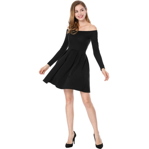 Allegra K Women Off The Shoulder Pleated Panel A-line Dress