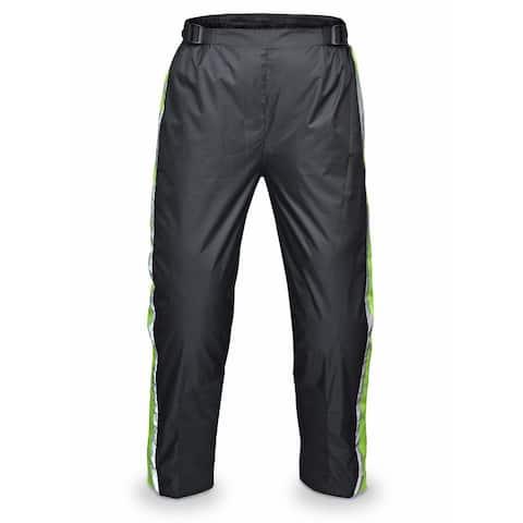 WICKED STOCK Motorcycle Rain Pants Waterproof Reflective HI VIZ - Black