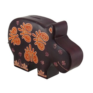 Colorful Embossed Leather Hippo Shaped Coin Bank