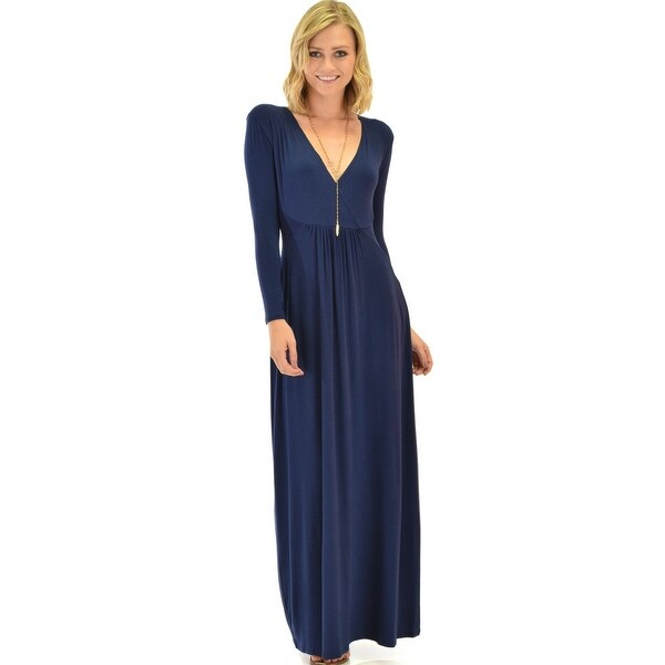 29278b20be Shop sweetest kiss long sleeve navy maxi dress-Navy-X-Large - Free Shipping  Today - Overstock - 23109534