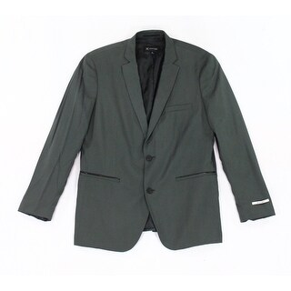 INC NEW Green Mens Size Small S Faux-Leather Slim-Fit Two Button Blazer