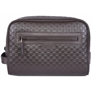 Gucci Men's 419775 Brown Leather Micro GG Guccissima Large Toiletry Dopp Bag