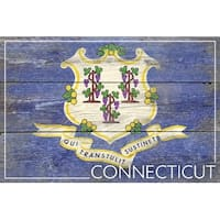 Rustic Connecticut State Flag - LP Artwork (Cotton/Polyester Chef's Apron)
