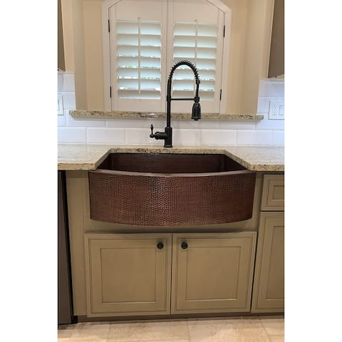 Premier Copper Products KSP4_KASRDB30249 Kitchen Sink, Spring Faucet and Accessories Package
