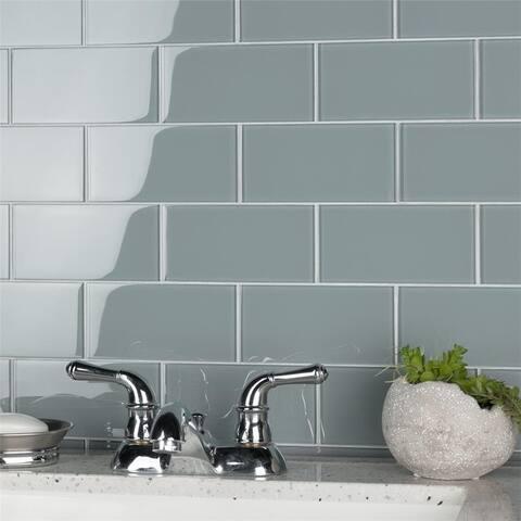 "SomerTile Tessera Subway Blue Smoke 3"" x 6"" Glass Wall Tile"