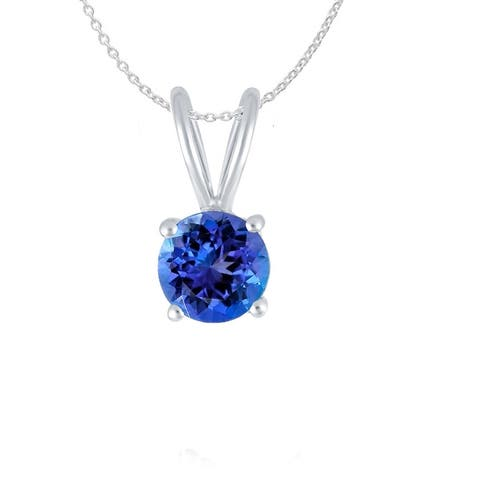 """Sterling Silver with Natural Tanzanite Solitaire Pendant with 18"""" Chain"""