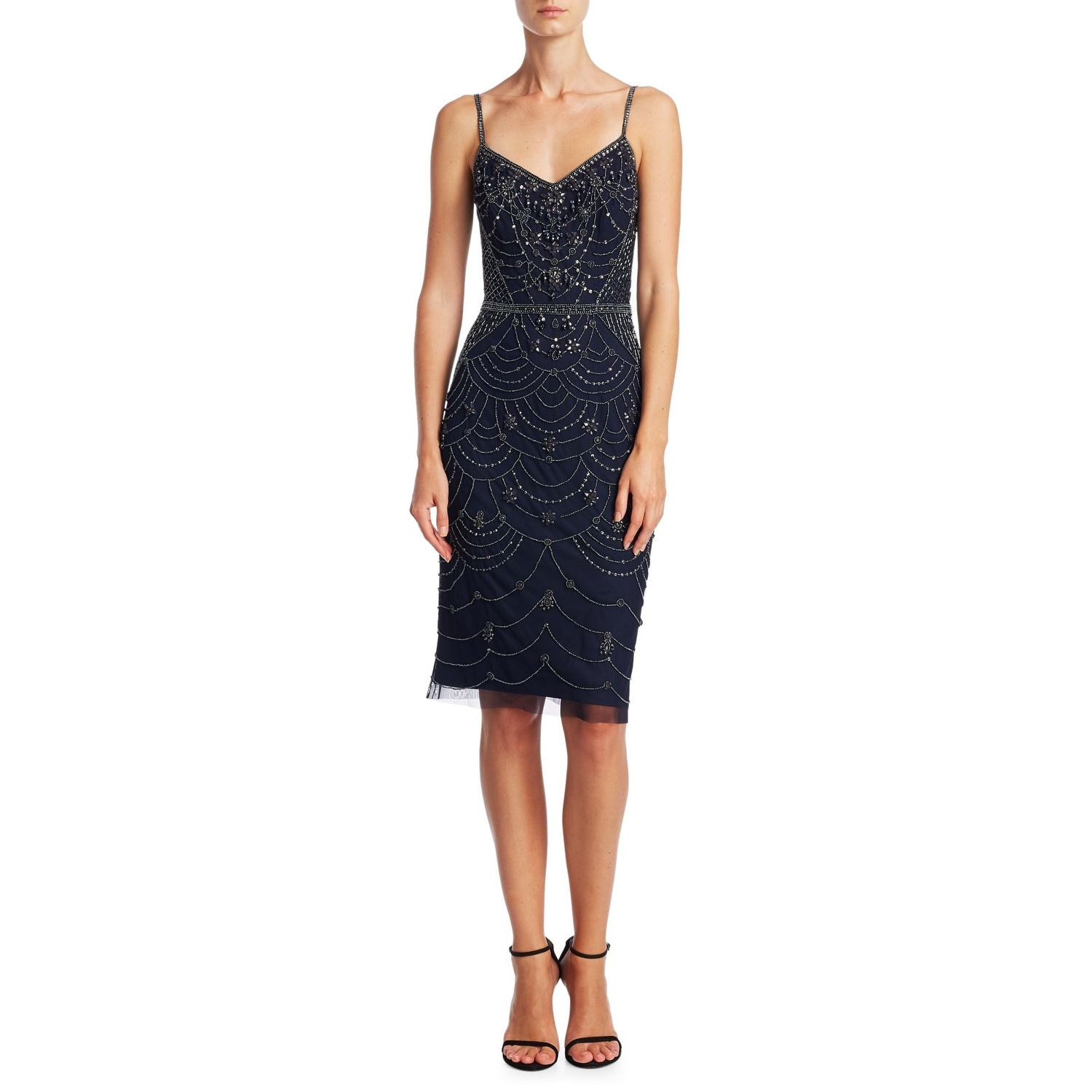 7dbd4ed6 Shop Theia Beaded Spaghetti Strap Cocktail Dress Midnight - Free Shipping  Today - Overstock - 26284506