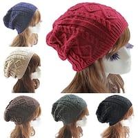 Lady Women's Knit Winter Warm Crochet Hat Braided Baggy Beret Beanie Cap