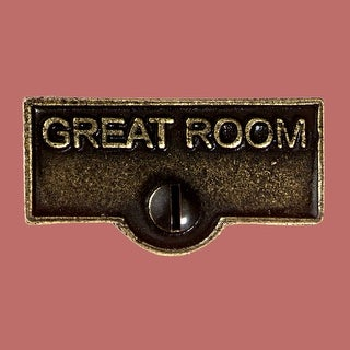 Switch Plate Tags GREAT ROOM Name Signs Labels Cast Brass