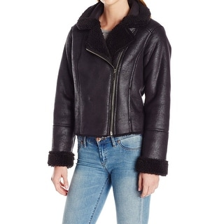 Vince Camuto NEW Black Womens Size Small S Faux-Fur Motorcycle Jacket