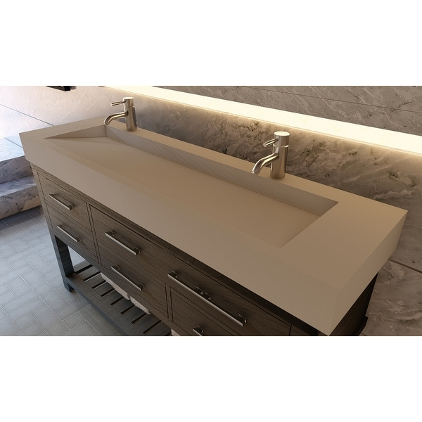 """Pyramid 72"""" Solid Surface Bathroom Vanity Top. Opens flyout."""