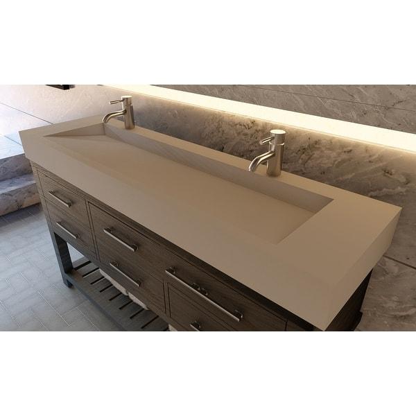 Pyramid 72 Solid Surface Bathroom Vanity Top Overstock 32139854 Grey