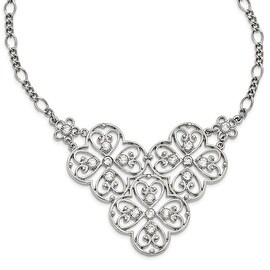 Silvertone Crystal Bib Necklace - 16in