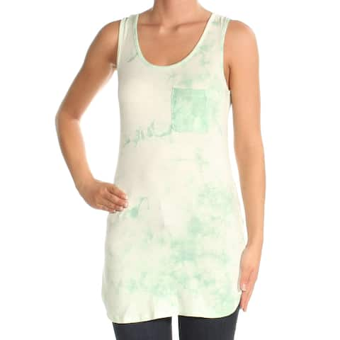 SAY WHAT? Womens Green Tie Dye Sleeveless Scoop Neck Top Plus Size: S