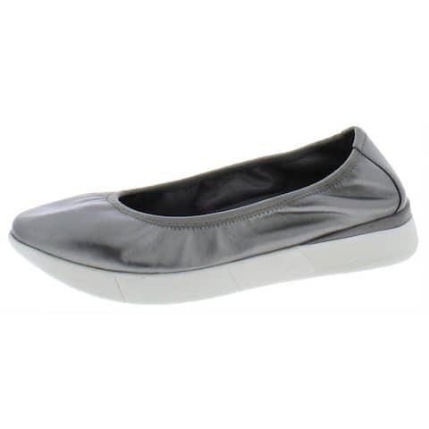 Easy Spirit Womens Cayrol Ballet Flats Leather Slip On - Pewter - 7.5 Wide (C,D,W)