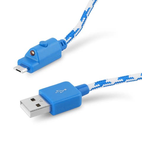 Verizon Braided Charge and Sync Cable for micro USB - Blue / White - Universal
