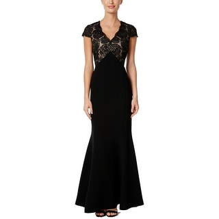 Calvin Klein Cap Sleeve Floral Mesh Embroidered Crepe Gown Black 10