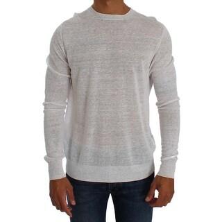 FABRIZIO DEL CARLO FABRIZIO DEL CARLO White Linen Crewneck Long Sleeve Sweater