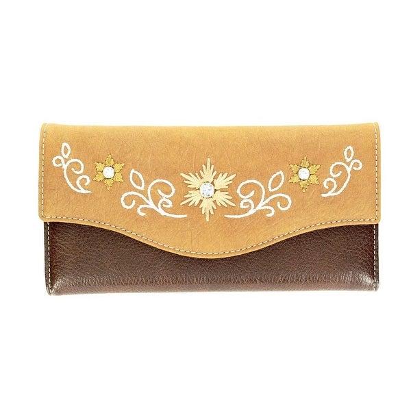 Blazin Roxx Western Wallet Womens Floral Rhinestones Brown Tan - One size
