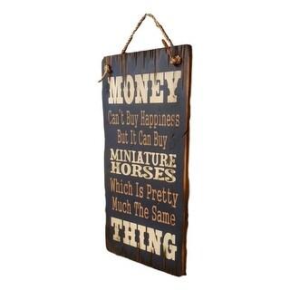Cowboy Signs Wood Wall Hanging Humorous Miniature Horses Navy 8280