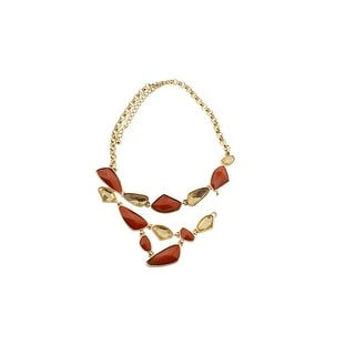 Kenneth Jay Lane Womens Gold-Plated Coral Stone Bib Necklace - gold/coral