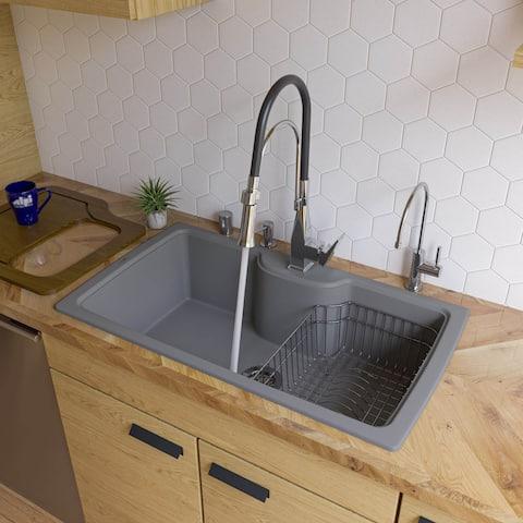 "ALFI brand AB3520DI-T 35"" Modern Drop-In Single Bowl Granite Composite Rectangular Kitchen Sink - Titanium"