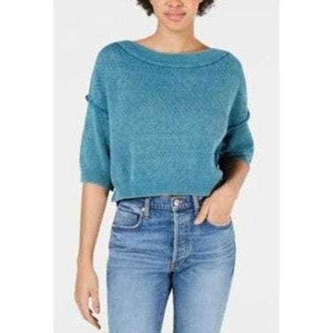 FREE PEOPLE Womens Teal Short Sleeve Crop Top Sweater Size XS