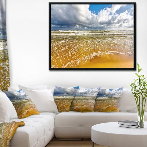 Designart 'Stormy Summer Sea with White Clouds' Seascape Framed Canvas Art Print