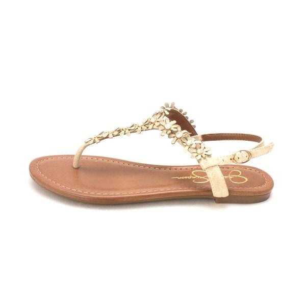 Jessica Simpson Womens Riel Leather Split Toe Casual T-Strap Sandals