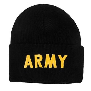 United States Army Military Cuffed Black Beanie