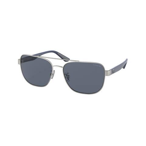 Coach HC7122 938287 58 Matte Silver Man Pillow Sunglasses