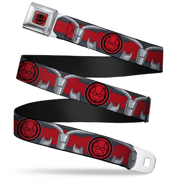 Marvel Avengers Ant Man Face Icon Full Color Red Black Ant Man Face Icon Seatbelt Belt