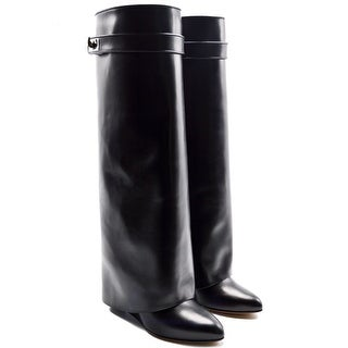 Givenchy Shark Lock Wedge Knee Black Leather Boots Size 37.5 / 7.5