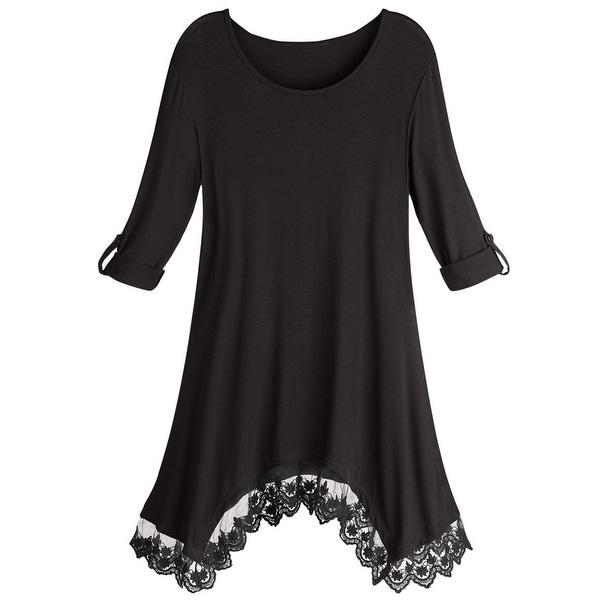 Women's Tunic Top - Luxe Knit Lace-Trim Sharkbite Hem Shirt