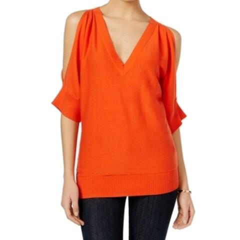 Michael Kors NEW Orange Women's Small S V-Neck Cold-Shoulder Sweater