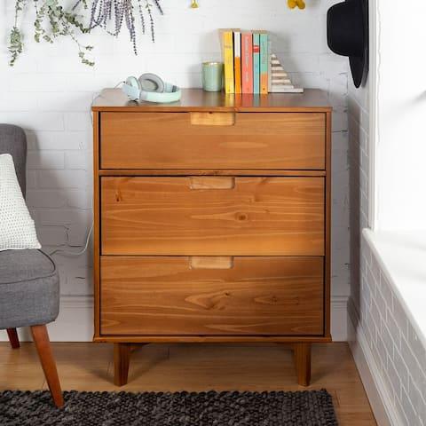 Mid-Century Solid Pine Three-Drawer Storage Chest