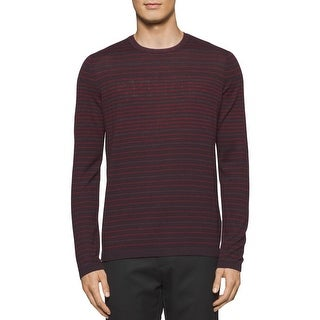 Calvin Klein Mens Pullover Sweater Merino Wool Striped