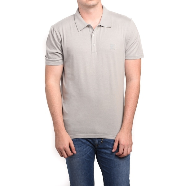 Versace Men's Cotton Medusa Logo Polo Shirt Tan