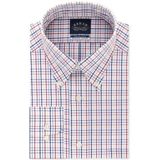 """Link to Eagle Mens Non-Iron Flex Collar Button Up Dress Shirt, red, 17.5"""" Neck 34""""-35"""" Sleeve Similar Items in Shirts"""