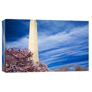 """PTM Images 9-101708  PTM Canvas Collection 8"""" x 10"""" - """"Washington Monument With Kite and Cherry Blossoms"""" Giclee Washington"""