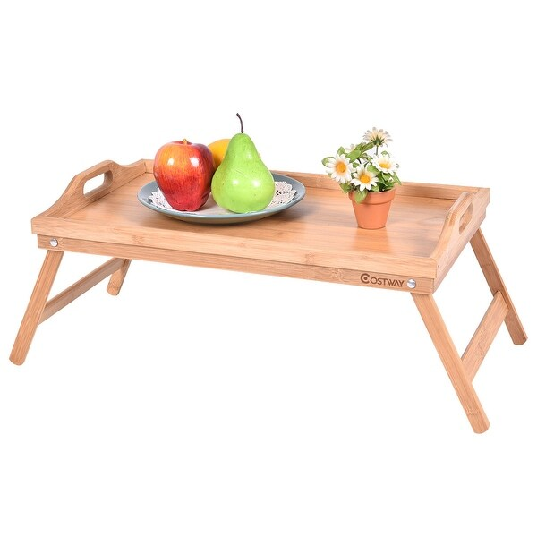 Costway Portable Bamboo Breakfast Bed Tray Serving Laptop Table Folding Leg  W/ Handle   Wood