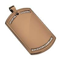 Paved Clear CZ Bronze IP Stainless Steel Dog Tag Pendant (30.5 mm Width)