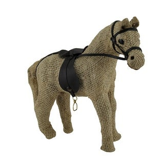 Jute Burlap Wrapped Paper Horse and Saddle Sculpture 7 Inch - Tan