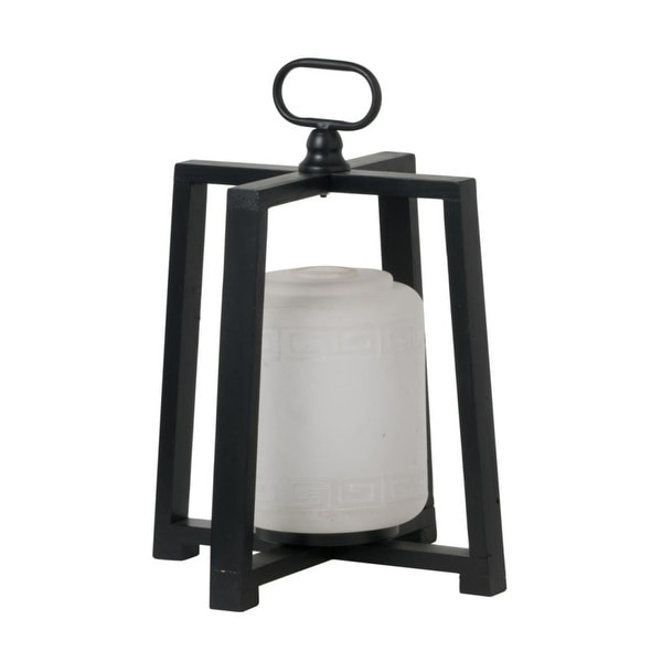 "16.25"" Black and White Contemporary Lantern with Frame - N/A"