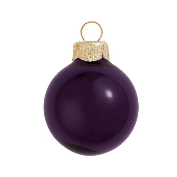 "4ct Shiny Purple Glass Ball Christmas Ornaments 4.75"" (120mm)"