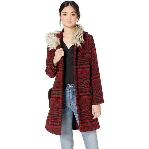 BB Dakota Junior's Play It Cool Houndstooth Plaid Coat, Cherry Red, Large