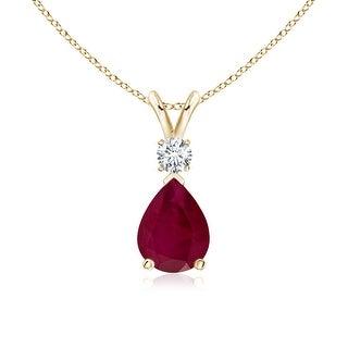 Angara Pear Ruby Teardrop Pendant Necklace with Diamond