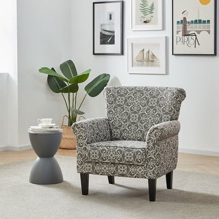 Link to BELLEZE Rosette Scroll Arm Nailhead Fabric Upholstered Chair - standard Similar Items in Accent Chairs