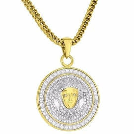 Round Mens Medusa Face Pendant 18K Gold Tone Simulated Diamond Iced Out Free Franco Chain