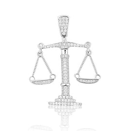 Sterling Silver Scale Pendant Libra Mens 39mm Tall With CZ
